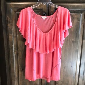 Like new Lucky Brand V- Neck Tee Coral L $39!